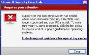 windows xp stopping support for security essentials